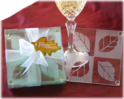 """Fall in Love"" Frosted Leaf Design Glass Coaster Set - Baby Shower Gifts & Wedding Favors (Set of 48)"