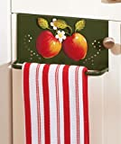Country Decor Metal Over the Door Drawer Cabinet Towel Rack Hanger Dishcloth Bar Apple Design Kitchen Decoration