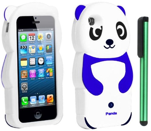 #1  Blue White Smile Panda Silicone Jelly Skin Premium Design Protector Soft Cover Case Compatible for Apple Iphone 5 (AT&T, VERIZON, SPRINT) + Combination 1 of New Metal Stylus Touch Screen Pen (4