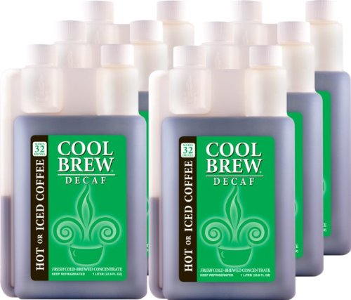 Cool Brew® Fresh Coffee Concentrate - Decaf 6X1 Liter - Make Iced Coffee Or Hot Coffee - Enough For Over 200 Drinks