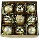 Set of Nine Gold Christmas Tree Baubles (6cm)