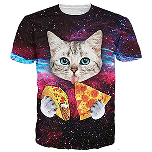 RAISEVERN Unisex 3d Animal Cat Print Short Sleeve T-Shirts Tees (Taco Cat Space Shirt compare prices)