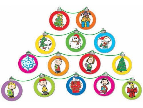 Eureka Peanuts Dimensional Christmas Ornaments Mini Bulletin Board Set, 24 Reusable Punch Out Pieces - 1