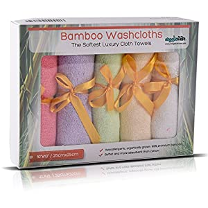 Bamboo Baby Washcloths by AngelicWare. Luxury Organic Towels / Wipes - Perfect Registry / Shower Gift. Soft Thick and Gentle on Sensitive Skin - 10