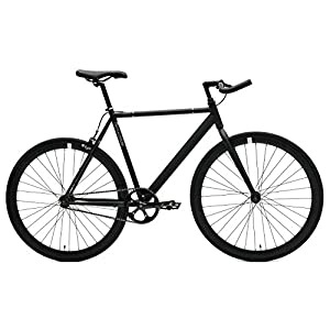 Critical Cycles Classic Fixed-Gear Single-Speed Track Bike with Pursuit Bullhorn Bars, Matte Black, 43cm/X-Small