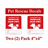 2 Emergency Fire Disaster Safety Rescue Decals - Save our Pet