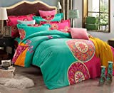 Luk Oil Home Textile,European Country Style Warm Thicken Bedding Set, Fashion Colorful Boho Style Duvet Covers Elegant Bohemian Flounce Bed Sheets Queen Size, 4Pcs