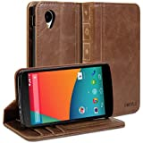 Nexus 5 Case, GMYLE Book Case Vintage for Google Nexus 5 - Brown Classic Crazy Horse Pattern PU Leather Wallet Stand Cover