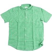 In'crewsive インクルーシブ ホリゾンタルカラー フレンチリネン ギンガムチェックシャツ 半袖 メンズ(男性用)