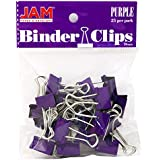 JAM Paper® - Small Purple Binder Clips 19mm (.75 inch) - 25 Binder Clips per Pack