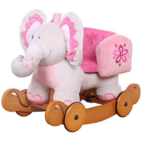 Hessie Children Rocking Horse With Wheels - Pink Elephant front-421608