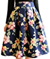 URqueen Women's Retro Sweet Flower Print Umbrella Skirt Pleated Skirt