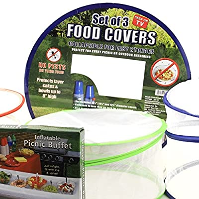 Mesh Food Cover Set & Inflatable Picnic Buffet Server - Tabletop Cooler and Net Covers Are the Perfect Solution for Outdoor Parties!