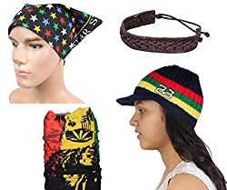 Sushito Fancy Multi Colour Woolen Cap With Stylish Headwrap & Wrist Band