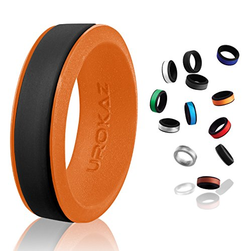 UROKAZ   Silicone Wedding RingBlack   OrangeSize 10  Inner Diameter ~ 19.76 mm