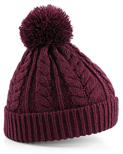 Beechfield Unisex Heavyweight Cable Knit Snowstar Winter Beanie Hat (One Size) (Burgundy)