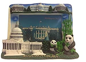 3 D White House, Washington Monument, Lincoln Memorial, Jefferson Memorial, US Capitol & National Zoo Washington DC Souvenir Decorative Picture Frame