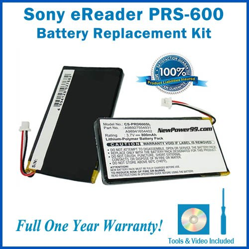 Battery Replacement Kit for Sony PRS-600 with Installation Video, Tools, and Extended Life Battery from Sony
