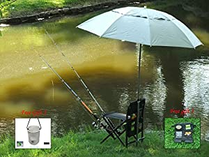Fishing Chair with 3 Fishing Rods Holder (Free Chair Organizer and bucket)