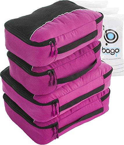 Travel Cubes 4pcs Packing Cube Set - Plus 6pcs Luggage Organizers Bags (PINK)