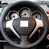 KLM XuJi ? Black Genuine Leather Steering Wheel Cover for Honda Old City Fit
