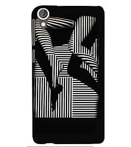 Printvisa Premium Back Cover Black And White Striped Stockings Pic Design For HTC Desire 820::HTC Desire 820Q::HTC Desire 820S