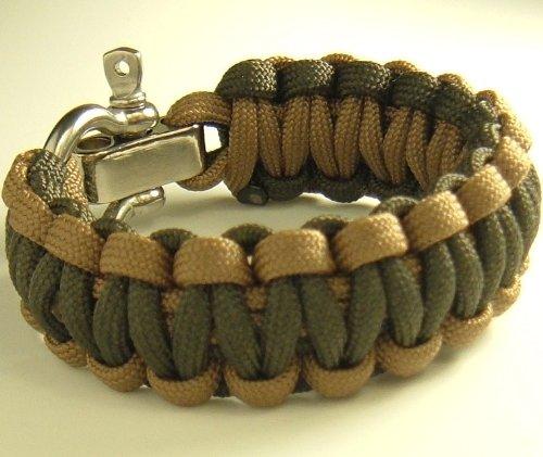 "Adjustable Shackle Paracord Survival Bracelet-7 Wrist Sizes-20 Colors (Olive Drab And Coyote Brown, 8.5"" Wrist)"