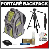 Portare' Multi-Use Laptop /iPad/Digital SLR Camera Backpack Case (Black) + 57 Tripod + Cleaning Kit for Nikon D3100, D3200, D5000, D5100, D7000, D700, D800, D4 Digital SLR Cameras