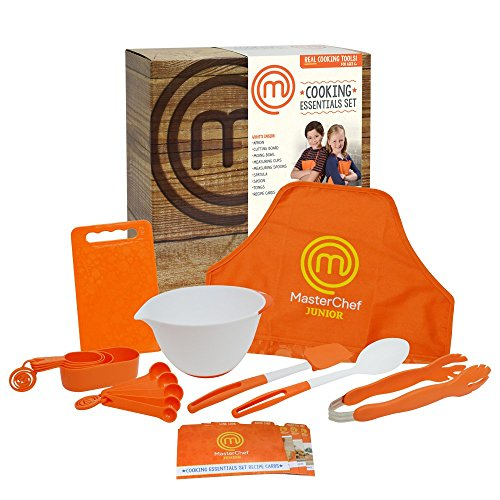 MasterChef Junior Cooking Essentials Set - 9 Pc. Kit Includes Real Cookware for Kids, Recipes and Apron (Cooking Kids Set compare prices)