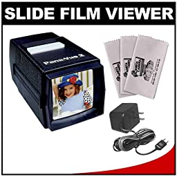 Pana-Vue 2 Lighted 2x2 Slide Film Viewer with AC Adapter + (3) Microfiber Cleaning Cloths