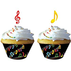 Dancing Music Notes Cupcake Wrappers w/ picks (12) Birthday Dance Party Supply