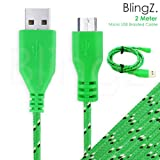 TheBlingZ.® 2M meter Micro USB Strong Braided Data Sync Charger Cable for Nokia HTC Blackberry Samsung Galaxy S S2 S3 S4 Note 2 ACE mini - Green