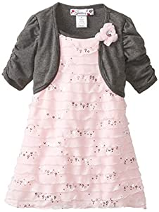 Speechless Little Girls' Eyelash Dress with Hacci Shrug, Pink, 2T
