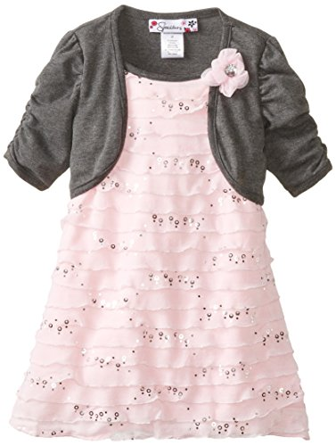 Speechless Little Girls' Eyelash Dress With Hacci Shrug, Pink, 3T