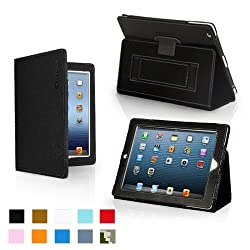 Snugg iPad 4 & iPad 3 Case - Leather Case Cover and Flip Stand with Card Slots, Pocket & Elastic Hand Strap and Premium Nubuck Fibre Interior (Black) - Automatically Wakes and Puts the iPad 3 to Sleep. Superior Quality Design as Featured in GQ Magazine