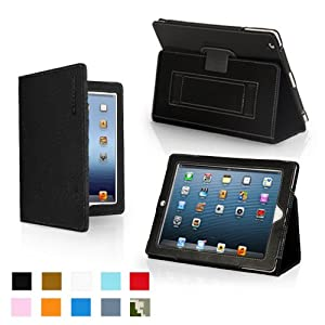 Snugg iPad 4 & 3 Leather Case Cover and Flip Stand with Elastic Hand Strap and Premium Nubuck Fibre Interior (Black) - Automatically Wakes and Puts the iPad 4 & 3 to Sleep. Superior Quality Design as Featured in Wired Magazine