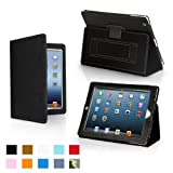 Snugg iPad 4 & iPad 3 Case - Leather Case Cover and Flip Stand with Elastic Hand Strap and Premium Nubuck Fibre Interior (Black) - Automatically Wakes and Puts the iPad 4 & 3 to Sleep. ~ Snugg
