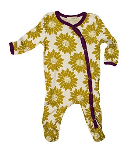 Zebi Baby Organic Footed Romper For Infants (3-6 Month, Olive Floral)