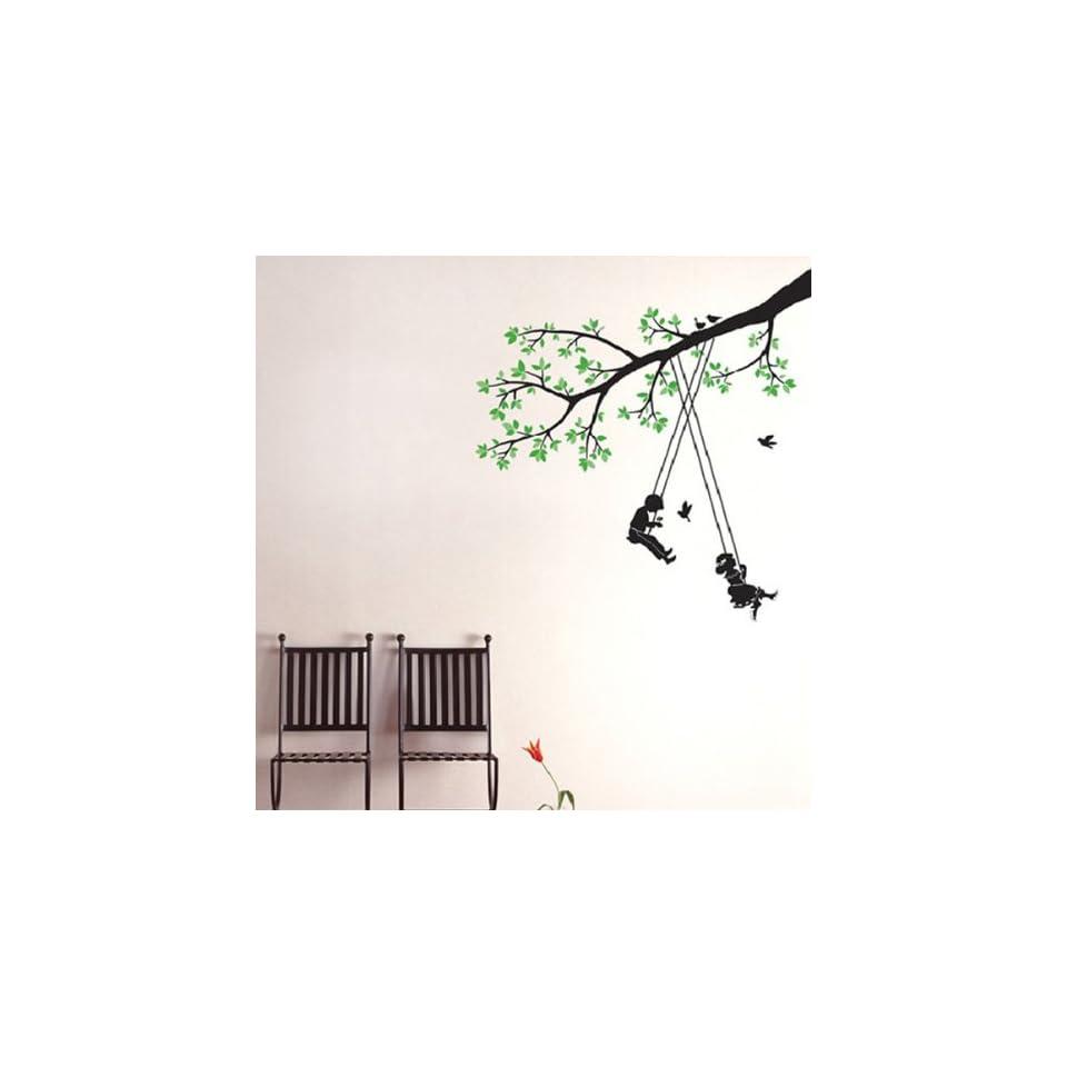 Modern House Kids Tree Swing removable Vinyl Mural Art Wall Sticker Decal