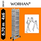 WORHAN® 6.7m Foldable Multipurpose Multifunction Aluminium BIG HINGE Ladder with Twin Stabilizers Step Ladder KS6.7