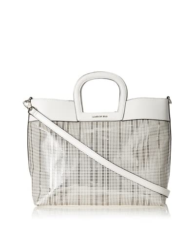 London Fog Women's Olivia Perforated Tote, White