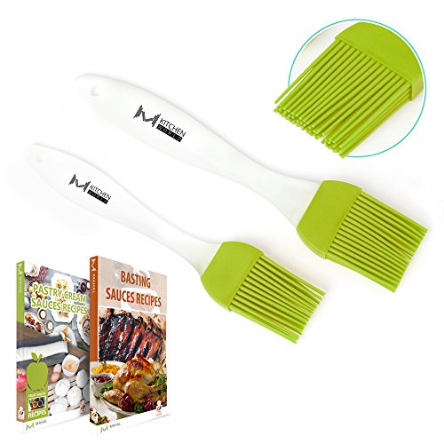Lowest Price! mKitchen Green Silicone Basting Pastry Oil Brush Set of 2 - 2 Recipe eBooks - Good for...