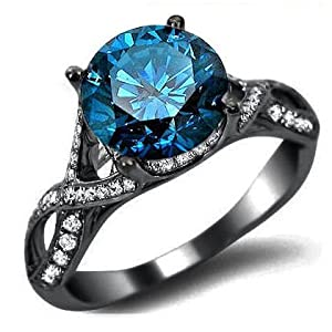 2.0ct Blue Round Diamond Engagement Ring 18k Black Gold