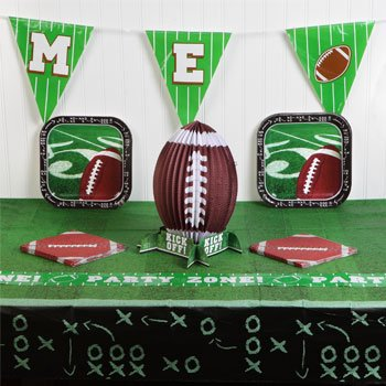 Football Tablecloth Paper Cups Plates Party Supplies Supply Trays NFL Sports Tablecover Superbowl Game Day Tailgate Table (Homemade Halloween Football Costumes)