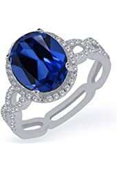 5.05 Ct Oval Blue Simulated Sapphire White Created Sapphire 925 Silver Ring
