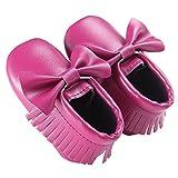waylongplus Prewalker infantil suave soled borla Bowknots Cuna zapatos PU Moccasins morado morado oscuro Talla:13 (12-18 Months)