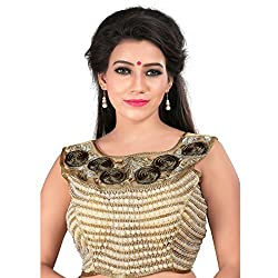 Araja Fashion Golden Color Hand Work with Embroidery Work Readymade Designer Saree Blouse