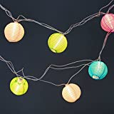 Set of 10 Multi Color Indoor/Outdoor Mini Oriental Style Nylon Lantern Plug-in String Lights - Expandable to 150 Lights