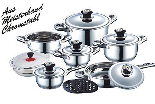 16-teiliges Edelstahl Kochtopf Set geeignet für Gas-, Elektro,- Glaskeramik-, Halogen- und Induktionskochplatten