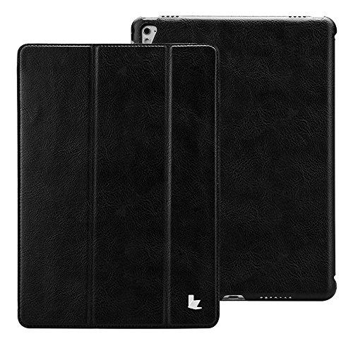 iPad Pro 9.7 ケース アイパッドプロ ケース Jisoncase PUレザー スマート カバー スリム 軽量型 薄型 オートスリープ スタンド機能 マグネット 三つ折り 傷つけ防止 耐摩擦 耐衝撃 防塵 手作り ハンドメイド 全面保護 人気 全三色 (ブラック AB-PRO-11S10)